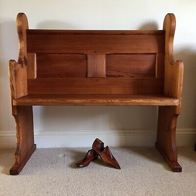 """Small Vintage Pine Church Pew / Settle / Bench / Hallway Seat 3' 3"""""""
