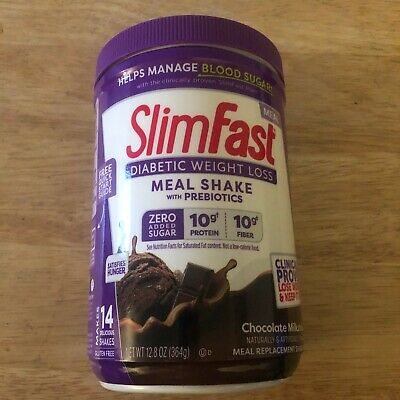 Slimfast Diabetic Weight Loss Chocolate Meal Replacement Shake Mix Powder 12.8oz