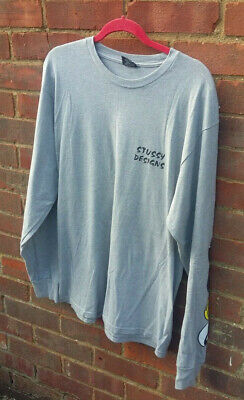Men's Vintage STUSSY Long Sleeve T Shirt LARGE Made In Mexico street urban surf
