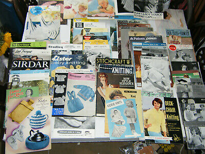 58x *Job Lot* 50s 60s Vintage Knitting Patterns & Booklets **See pics & descr!**