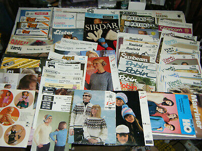 67x Job Lot 60s 70s 80s Vintage Knitting Patterns Booklets See pics & descr! 50p