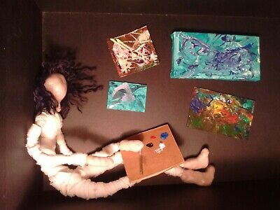 Halloween Folk Art Doll Doll with tiny expressionistic painting