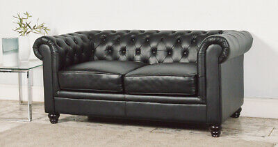 Clearance - Hampton Black 2 Seater Leather Chesterfield Sofa - T8770