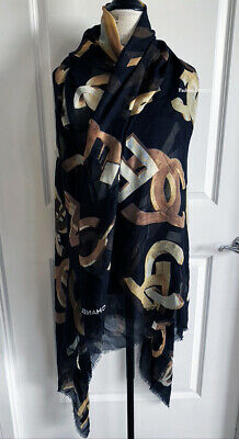 $1025 Chanel 2020 Large Xl Black Gold Cashmere Silk Stole Scarf