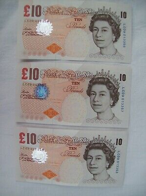 Bank of England: Three Old Uncirculated & Consecutive £10 Banknotes