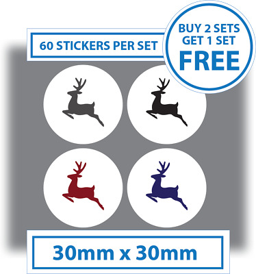 60 x Reindeer Christmas Stickers Card Decorating Present Seals Labels 30mm Brown
