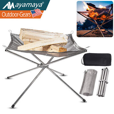 Portable BBQ Grill Folding Campfire Grill Stainless Steel Outdoor Wood Stove Charcoal Camping Grill for Open Flame Cooking HUMOZM Portable Fire Pit