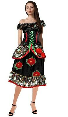 K254 Sugar Skull Suit Day of Dead Senorita Skull Fancy Dress Halloween Costume