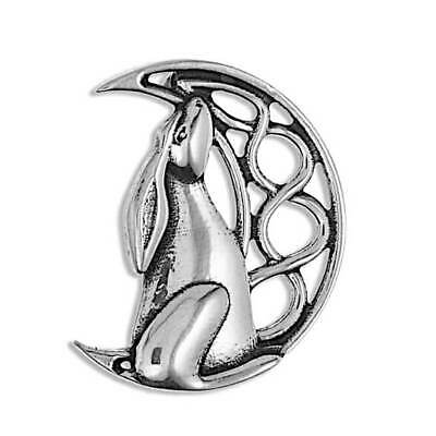 Moon Gazing Hare R187 English Pewter Emblem on a Tie Clip 4cm Long