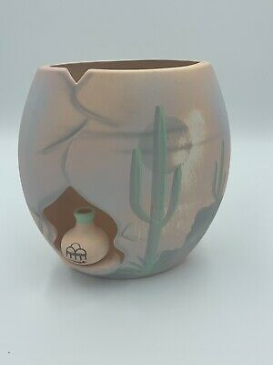 Vintage Southwest Desert Clay Pottery Bell with Cactus Cut Out