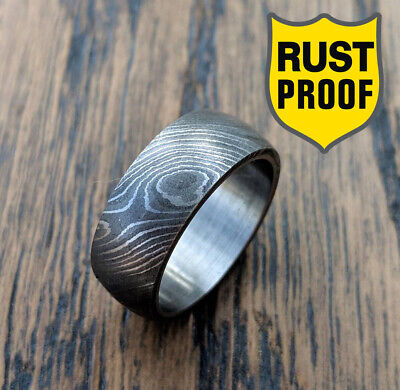 Handmade Unique Men/'s Engagement Band Damascus Stainless Steel w Rosewood Inlay