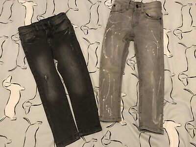 Next Skinny/Slim Fit Jeans x 2 Black & Bleached Grey Age 4 EUC ideal for Xmas