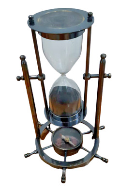 Brass Antique Sand Timer Hourglass With Wheel Compass Base /& Hanging Decor Item