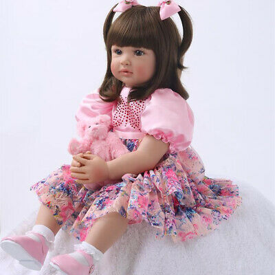 """Toddler Reborn Baby Girl Real Look Dolls Golden Hair Silicone Kids in Outfit 24/"""""""