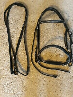 Horse English Padded Leather Raised Adjustable Flash Bridle Reins Full 803442