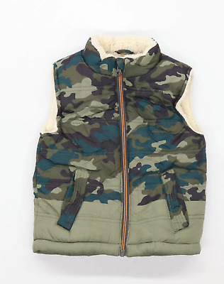 M&Co Boys Camouflage Green Gilet Age 3-4 Years