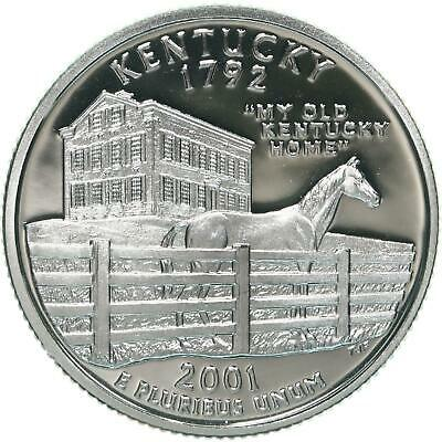 2001-S Kentucky State SILVER Proof Quarter Deep Cameo GEM Coin Free Shipping !