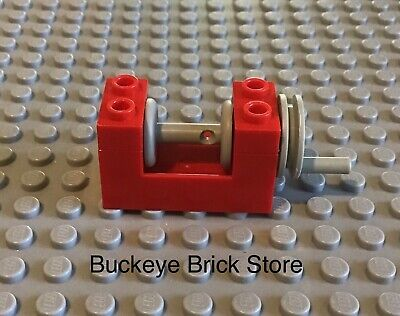 Lego 10 New Blue String Reel Winch 2 x 4 x 2 Light Gray Drum with String Parts