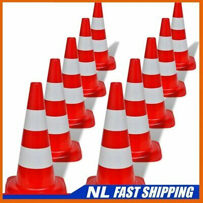 10x Reflective Traffic Cones Red and White 50cm Parking Safety Road J_Vtin