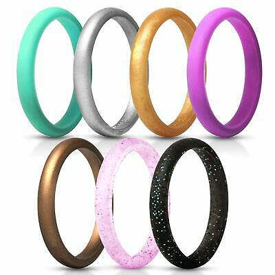 Moonthia Womens Thin and Stackable Silicone Rings Wedding Bands Scaly Design Comfortable and Skin Safe Breathable Rubber Ring Bands for Women Size 4-10