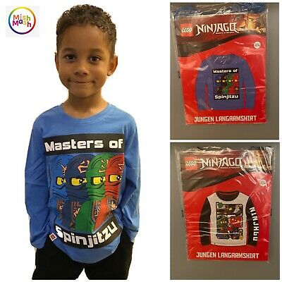 Boys Ninjago Lego 2 Way Sequin Swipe Long Sleeve T-Shirt Top Red Sizes from 4 to 8 Years