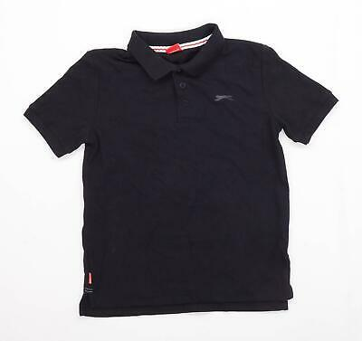 Slazenger Boys Black Button Up Polo Shirt Age 13 Years