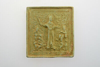 Byzantine Medieval bronze icon Crusader Templar era Jesus Christ 11-13th cent AD