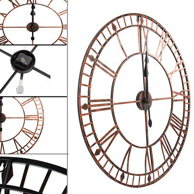Large Skeleton 80cm Round Wall Clock Big Roman Numerals Open Face Metal NEW