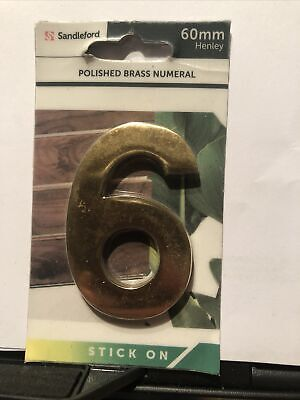 Number 6 150mm Polished Brass Numeral Screw On  Henley Standleford