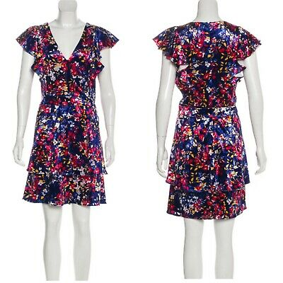 Parker Women's Velvet Floral Dress Flutter Sleeve V-Neck Tiered Size L