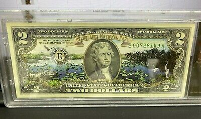 UNCIRCULATED Colorized Yellowstone National Park $2 Dollar Bill Cased in plastic