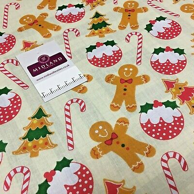 Christmas Polycotton Candy Cane White D891 Craft bunting dress Fabric 112cm