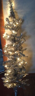 Holiday Time Pre Lit Rose Gold Tinsel Christmas Tree 4 Clear 39 95 Picclick