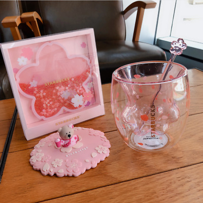 Starbucks Liminted Edition Pink Cherry Blossom Cute Cat Glass Drink Cup w//3D Lid