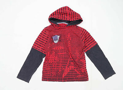 Urban Boys Striped Red Hoodie Age 9 Years
