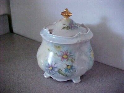 Antique MW Co Porcelain Biscuit Cracker Cookie Jar Hand-Painted Roses Germany