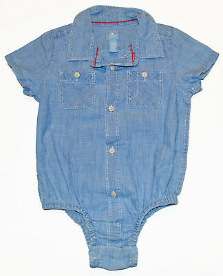 Details about  /Baby Gap Factory NWT Blue Chambray Denim Roll-Up Romper 3-6-12-18-24 Months $30