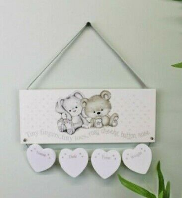 Beautiful hanging plaque, Neutral New Baby Birth Details Plaque