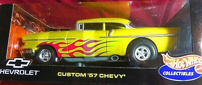 1//18 Hot Wheels 1957 Chevrolet Bel Air Drag Car With Flames Diecast Yellow 21356 for sale online