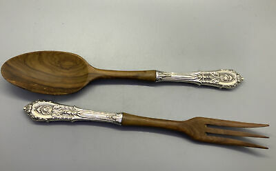 Meadow Rose By Wallace Sterling Silver Salad Serving Spoon Fluted 9