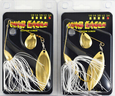 2 New War Eagle Tandem Willow Spinnerbait 3//8 Hot White Shad WE38NT25