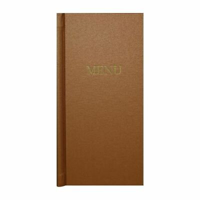 Slip Grip Menu Covers - Copper Board & Cloth - Easy to Clean - 2/3 Width - A4