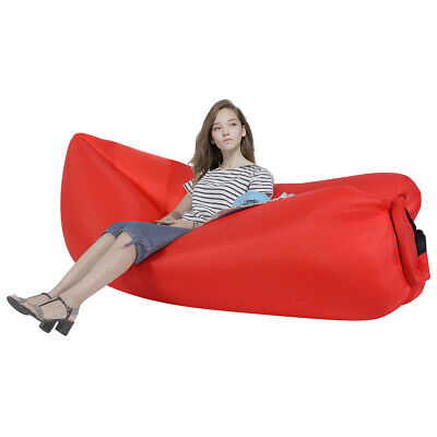 Portable Lazy Inflatable Sleeping Bed Lightweight Travel Camping Travel Red
