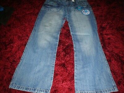 girls DENIM CO blue cotton zip up flared jeans  size 9-10years