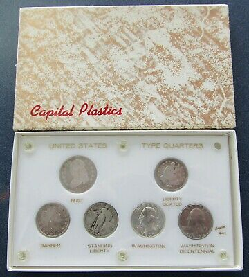 US Bust Seated/Standing Liberty & Washington Quarter Type Set In Capital Holder