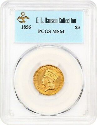 1856 $3 PCGS MS64 ex: D.L. Hansen - Pretty Type Coin - 3 Princess Gold Coin