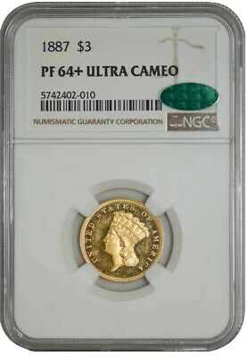 1887 $3 Gold Indian PF64+ Ultra Cameo NGC ~ CAC 942042-10