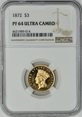 1872 $3 Gold Indian PF64 Ultra Cameo NGC 942055-3