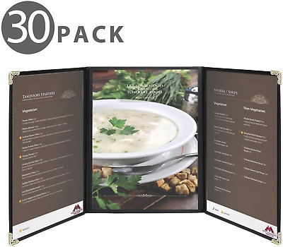 "Flexzion Menu Covers Fits 9.4"" x 12.4"" Paper - Restaurant Triple Stitched Folder"