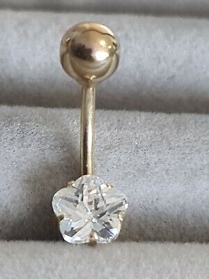 9CT YELLOW GOLD 13mm CHAMPAGNE CRYSTAL BELLY BAR Erin Rose Jewellery co